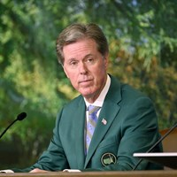 会見するフレッド・リドリー氏。「飛距離問題」への懸念を口にした(提供:Augusta National Golf Club) 2021年 マスターズ 事前 フレッド・リドリー