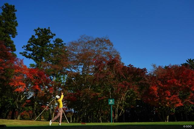 2020年 三井住友VISA太平洋マスターズ 初日 13番 青空と紅葉と。