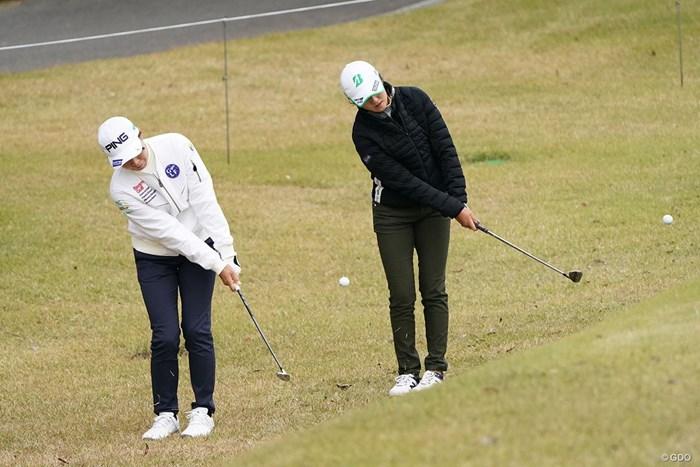 同じ位置からアプローチ 2020年 伊藤園レディスゴルフトーナメント 事前 渋野日向子
