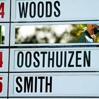 愚直にアナログにこだわり続けるマスターズのリーダーボード(提供:Augusta National Golf Club) 2021年 マスターズ 2日目 リーダーボード