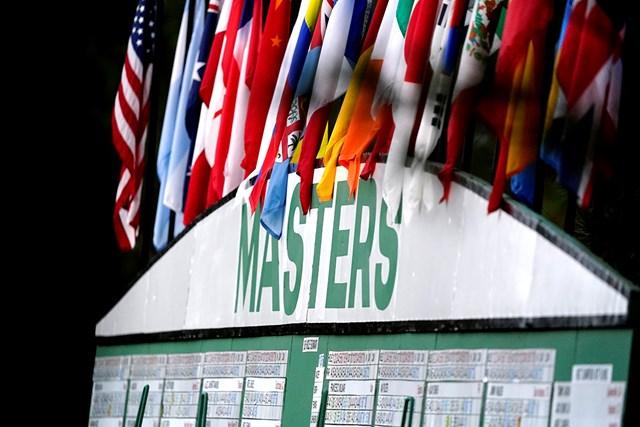 2021年 マスターズ 3日目 スコアボード 3日目朝のスコアボード(提供:Augusta National Golf Club)