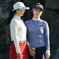 同組のユン・チェヨンと話すキム・ハヌル 2020年 伊藤園レディスゴルフトーナメント 最終日 キム・ハヌル