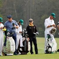 最終日はランガーらと同組となったデシャンボー(提供:Augusta National Golf Club) 2021年 マスターズ 最終日 ブライソン・デシャンボー