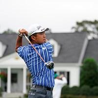 練習日から青、緑、ピンク、水色、そして最終日は勝負カラーの黄色といずれも縦じまのウエアが新鮮だった松山英樹(提供:Augusta National Golf Club) 2021年 マスターズ  事前 松山英樹