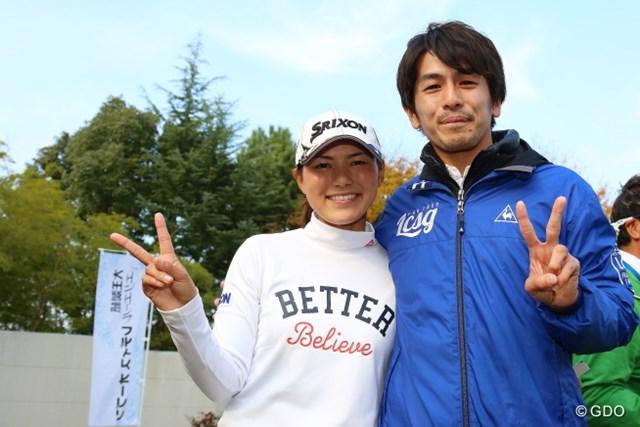 横峯さくらと森川陽太郎さん(写真は2014年大王製紙エリエールレディス)