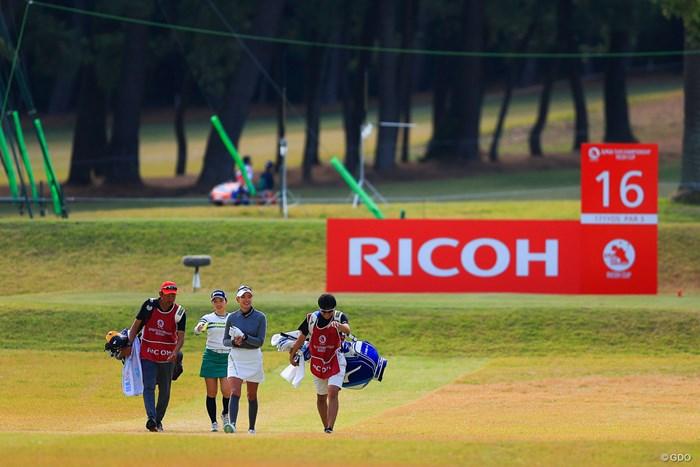2サムラウンドを歓迎する原英莉花。小祝さくらと同組は日本女子オープンの決勝ラウンドと同じ 2020年 LPGAツアーチャンピオンシップリコーカップ 初日 原英莉花 小祝さくら