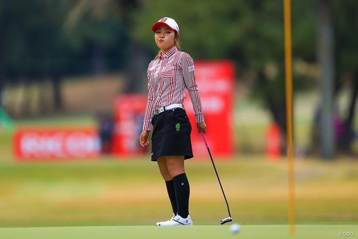 芝目がきつい高麗グリーンにこの表情 2020年 LPGAツアーチャンピオンシップリコーカップ 初日 古江彩佳