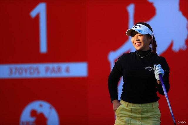 2020年 JLPGAツアーチャンピオンシップリコーカップ 3日目 田中瑞希 肌寒い朝の笑み