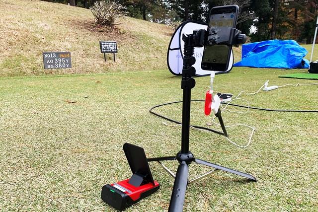 5G×IoTゴルフソリューション展示会 下に置かれているのが弾道測定器