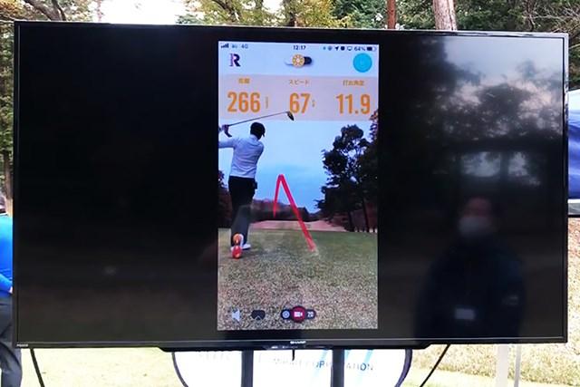 5G×IoTゴルフソリューション展示会 この日はショットのデータが設置されたモニターに映し出された