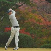 12番、紅葉を背景にティショット。 2020年 ゴルフ日本シリーズJTカップ 3日目 岩田寛