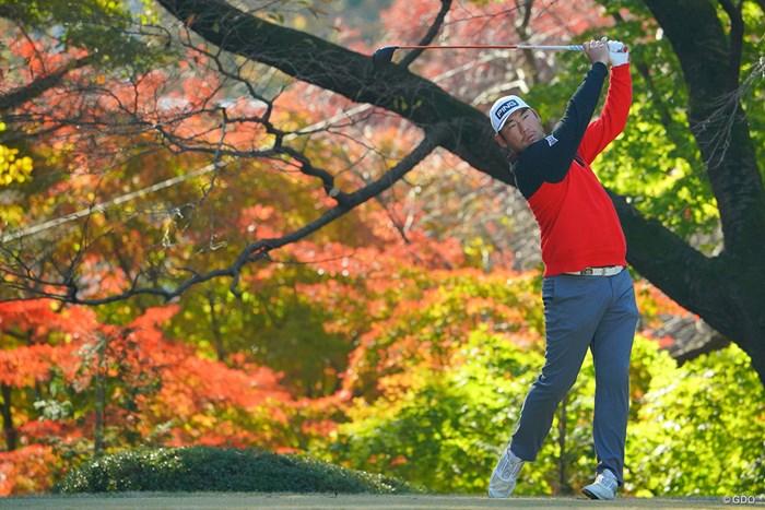 紅葉をバックにティショット。 2020年 ゴルフ日本シリーズJTカップ 最終日 チャン・キム