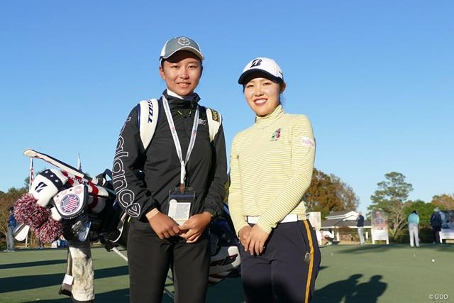 2020年 全米女子オープン  事前 古江彩佳 キャディを務める佐渡山理莉と。古江彩佳が初のメジャーへ