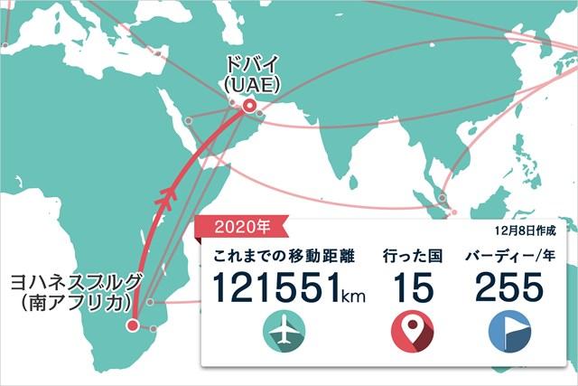 2020年 DPワールド ツアー選手権 ドバイ 事前 川村昌弘マップ ヨハネスブルグからの直行便でドバイへ