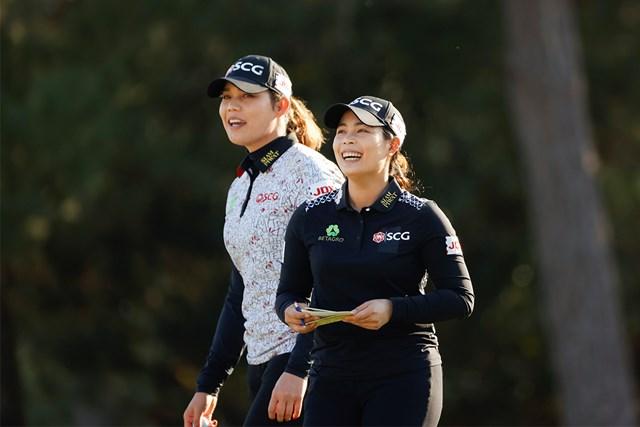 2020年 全米女子オープン 3日目 アリヤ・ジュタヌガン モリヤ・ジュタヌガン 同組で回ったジュタヌガン姉妹。157㎝の姉・モリヤが優勝争いへ(USGA/Chris Keane)