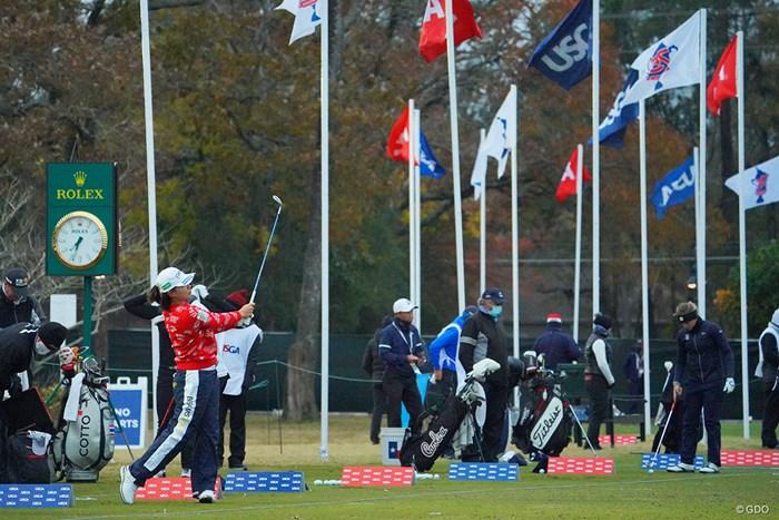 強く北風が吹き付ける、朝の練習場。 2020年 全米女子オープン 最終日 渋野日向子