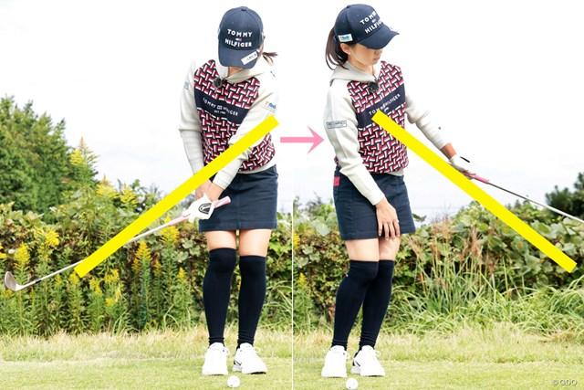 安定したアプローチは縦回転♪ 森美穂 シャフトの延長線に左腕が伸びている状態が理想的