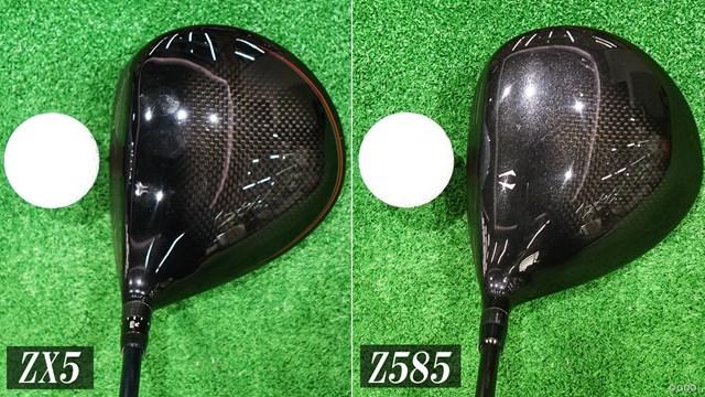 スリクソン ZX5 ドライバーを筒康博が試打「グローバル感満載」 ZX5(左)よりZ585(右)のほうがヒール寄りの膨らみを感じる