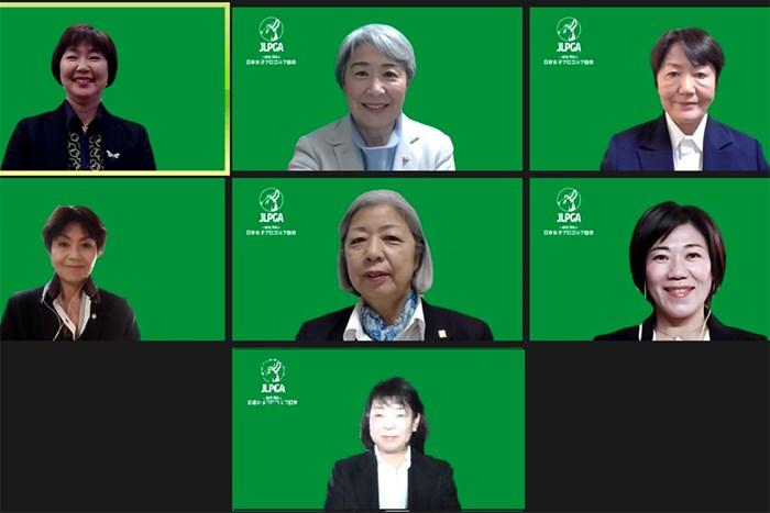 小林浩美会長(左上)ら7人の理事候補が選出(提供:JLPGA) 2020年 理事選 小林浩美会長