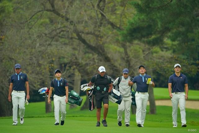 2020年 日本オープンゴルフ選手権競技 事前 金谷拓実 米澤連 中島啓太 金谷拓実(右から2番目)を筆頭に存在感を放つ新世代