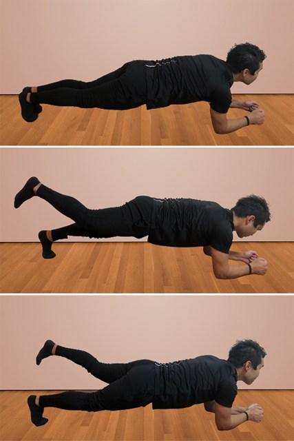 体幹を鍛える自宅トレーニング プランクレッグレイズ(提供:ケアくる)