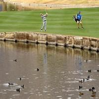 池には鳥がたくさんいる(Harry How/Getty Images) 2021年 ザ・アメリカンエキスプレス 3日目 アンドリュー・パットナム