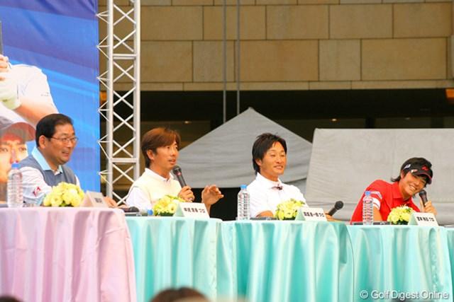 4人によるトークショーでは、選手からの質問も石川遼に集中した