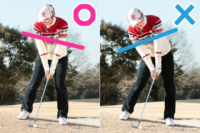 左足上がり・下がりを改善!アプローチ攻略法 斉藤愛璃 ロフト角通りにインパクトさせるため「傾斜なり」が正解