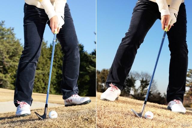 左足上がり・下がりを改善!アプローチ攻略法 斉藤愛璃 体の軸を意識しながらそれぞれ別の構え方で対応しよう