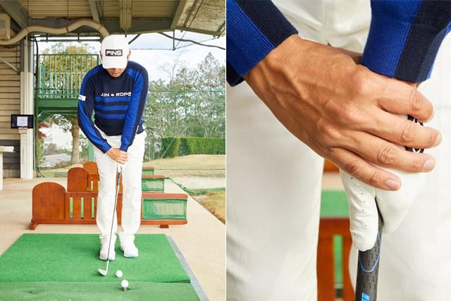 青木翔プロレッスン5回目data5 片方の手でクラブを持った方の手首をつかむと手首の動きが安定する