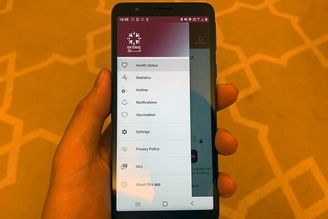 2021年 コマーシャルバンク カタールマスターズ 事前 カタールで購入したスマートフォン。画面が健康チェックのアプリです