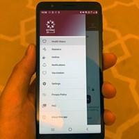カタールで購入したスマートフォン。画面が健康チェックのアプリです 2021年 コマーシャルバンク カタールマスターズ 事前