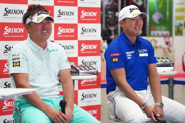 2021年の目標を語った秋吉翔太(左)と出水田大二郎 2021年 ゴルフフェア 秋吉翔太 出水田大二郎