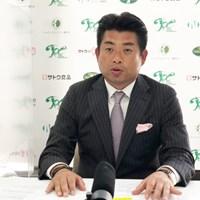 選手会事務局長として会見を行った池田勇太(提供:JGTO) 2021年 ジャパンプレーヤーズチャンピオンシップ 池田勇太