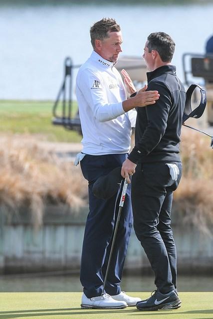 2021年 WGCデルテクノロジーズ マッチプレー 初日 イアン・ポールター ロリー・マキロイ ポ―ルター(左)は初戦でマキロイに大勝 (Ben Jared/PGA TOUR via Getty Images)