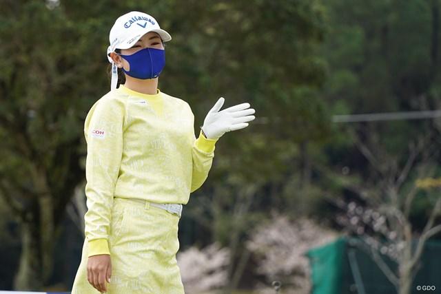 2021年 アクサレディスゴルフトーナメント in MIYAZAKI 事前 河本結 ディフェンディングチャンピオンです