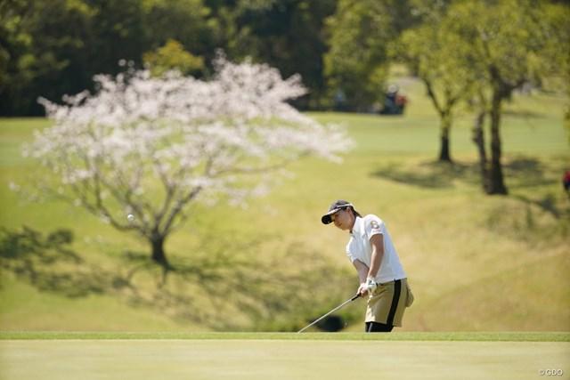 2021年 アクサレディスゴルフトーナメント in MIYAZAKI 2日目 福山恵梨 桜バックにアプローチ