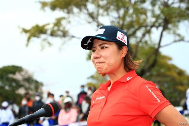 2021年 アクサレディスゴルフトーナメント in MIYAZAKI  最終日 岡山絵里 優勝インタビューでは涙ぐみながら