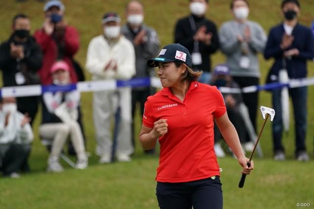 2021年 アクサレディスゴルフトーナメント in MIYAZAKI  最終日 岡山絵里 面全体でボールをとらえたパットで優勝を手繰り寄せた岡山