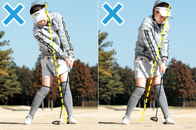 フェアウェイウッドがこれだけでうまくなる練習法 上野陽向 極端なアオリ(左)&突っ込み(右)でなくてもミスが明確に出る