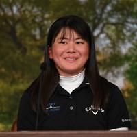 優勝会見に臨む梶谷翼(提供:Augusta National Golf Club) 2021年 オーガスタナショナル女子アマ 最終日 梶谷翼