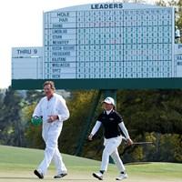 手動のリーダーボード。「PLAYOFF」の文字の下に梶谷の名前がある(提供:Augusta National Golf Club) 2021年 オーガスタナショナル女子アマ 最終日 梶谷翼
