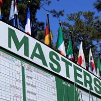 1番ホール付近のリーダーボード(提供:(提供:Augusta National Golf Club) 2021年 マスターズ 事前 マスターズ