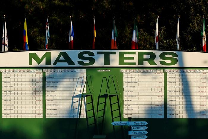 開幕に備えるオーガスタナショナルGCもリーダーボード(提供:Augusta National Golf Club) 2021年 マスターズ 事前 リーダーボード
