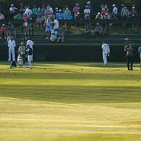 練習ラウンドを見詰めるパトロンたち(提供:Augusta National Golf Club) 2021年 マスターズ 事前 カルロス・オルティス フィル・ミケルソン