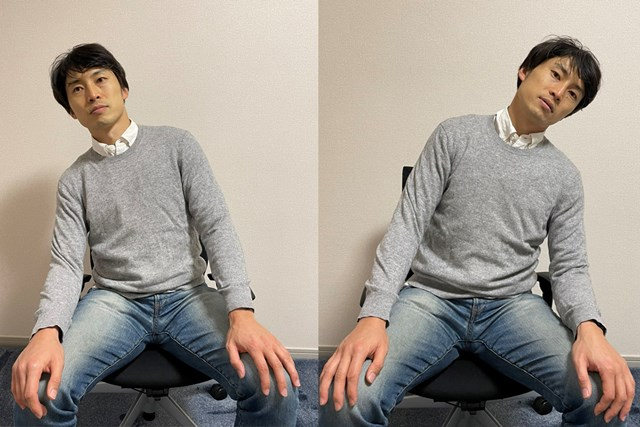 イス 首を左右に動かすことはスイング時の下半身への体重の乗り方と重なる(※提供写真)