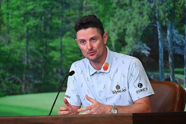 2021年 マスターズ 初日 ジャスティン・ローズ 首位発進を決めて記者会見するローズ(提供:Augusta National Golf Club)