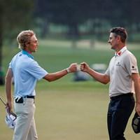 3日目最終組でプレーしたローズとザラトリスはともに4打差2位で最終日へ(提供:Augusta National Golf Club) 2021年 マスターズ 3日目 ジャスティン・ローズ ウィル・ザラトリス