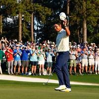 最後は苦笑いのタップインボギーとなったが、日本のゴルフ界の未来を切り開いた(提供:Augusta National Golf Club) 2021年 マスターズ 4日目 松山英樹