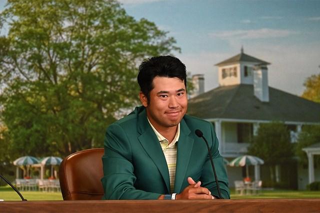 2021年 マスターズ 最終日 松山英樹 マスターズ初優勝を遂げ、公式会見に臨んだ松山英樹(提供:Augusta National Golf Club)